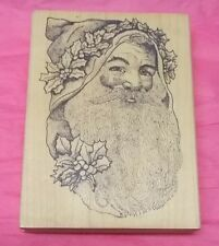 Stamp Corner Large Santa Claus rubber stamp Holly Holiday stamps card making