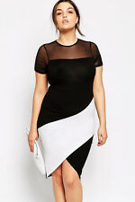 Black White Color Block Cocktail Dress Plus Size XXL Short Sleeve Asymetric  41