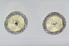 Art Deco Platinum & 14K Gold Diamond Stud Earrings Engraved All Occasion EE819