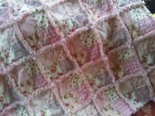 Handmade Baby Girl Rag Quilt  / Patchwork / Roses / Pink & Brown / Cottage Chic