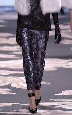 Vera Wang $645 Runway Cropped metallic silk jacquard Purple SIlver dress pants 6