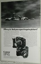 1974 Canon Camera advertisement, Canon F-1, speeding Formula One F1 Race Car