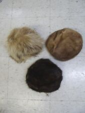 3 MINT FUR HAT HATS LOT WOMEN WOMAN MUSKRAT FUR ONE MINK & ONE RACCOON
