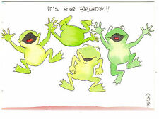 Postcard Frog Jumping Toad Notes It's Your Birthday Bon Anniversaire grenouille