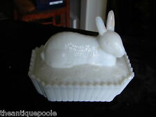 Westmoreland Milk Glass Rabbit in a Picket Fence Covered Candy Trinket Dish