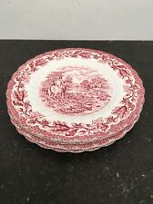 4 X Vintage Myotts Country Life (Red) Hunting Scene Side/Salad Plate 21cm 1940s