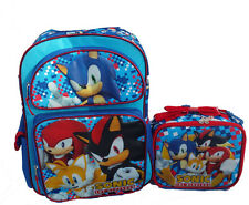 "Sonic The Hedgehog 16"" Large Backpack and Lunch set 2 pc Sonic Black Shadow"