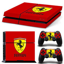 PlayStation 4 PS4 Console Skin Decal Sticker Ferrari  + 2 Controller Skins Set