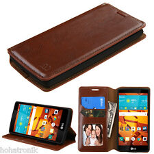 BROWN For LG Volt 2 LS751 Magna Leather Flip Wallet Case Cover Stand Fold Pouch