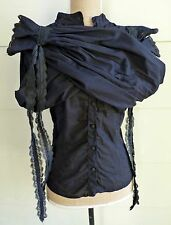 Black Poet Sleeve Steampunk Renaissance Medieval Gypsy Wench Blouse Shirt Top M