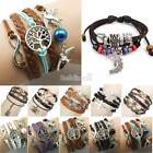 New Wrap Multilayer Leather Braided Bracelet Chain Fashion Wristband 6types BE0D