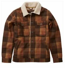 2016 NWT MENS BILLABONG BARLOW PLAID JACKET $125 L brown multi sherpa lined