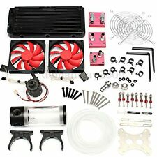 Water Cooling Kit 240 Radiator CPU GPU Block Pump Reservoir Tubing Barb 3/8 Tw
