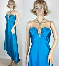 VTG Mary L Couture Teal V Jeweled Gemstone Fishtail Party Formal Cocktail Dress