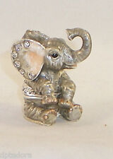 MINIATURE HUNGRY ELEPHANT  PEWTER  BEJEWELED HINGED TRINKET  BOX
