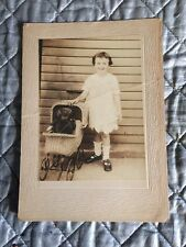 DOLL Steiff Bear Child Wicker Baby Carriage 1930's Era Photograph Black & White