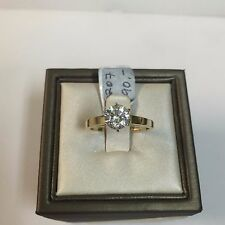 Solid 14K Yellow Gold Classic Round CZ Solitaire Engagement Ring, 6.5mm/1 Carat