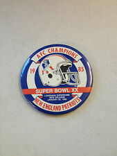 1985 NEW ENGLAND PATRIOTS AFC CHAMPIONS SUPER BOWL XX 3 1/2 INCH BUTTON/PIN !