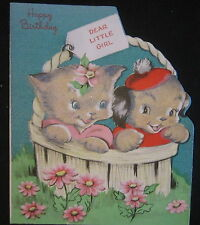 Vintage Happy Flocked Birthday Greeting Card Kitten and Pup in Basket