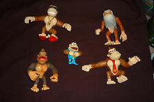 "5pc Donkey Kong Country 5"" Action FIgure Lot Cranky Funky Donkey Junior"