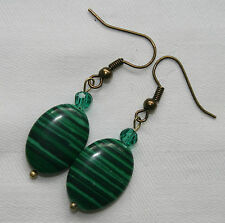 Unique handmade green malachite antique gold plated earrings with free stoppers