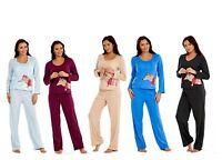 Ladies Long Sleeve Pyjama Set Brown Womens Cotton Blue Animal Purple Dog PJ'S