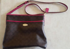 COACH PURSE NEW YORK PINK & BROWN HANDBAG STYLE EUC