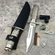 "8.5"" SURVIVAL COMBAT TACTICAL SERRATED HUNTING KNIFE w/ SHEATH Bowie Fixed Blade"