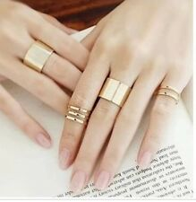 NEW  3 pcs Shiny Punk Polish Gold Stack Plain Band Midi Mid Finger Knuckle Ring