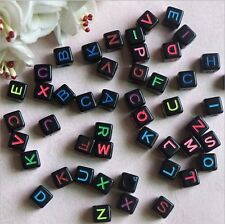 wholesale!50pcs 6x6mm Mixed Alphabet/Letter Acrylic Cube Beads BS08