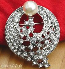 UNIQUE SILVER TONE & LARGE FAUX PEARL & CRYSTAL BROOCH WEDDING BRIDAL PROM PARTY