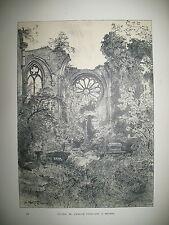 ANGERS RUINES EGLISE TOUSSAINT LITHOGRAPHIE XIXe ft 22 x 31 cm PAR ROBIDA