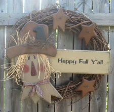 PRIMITIVE COUNTRY SCARECROW WREATH FALL AUTUMN HARVEST