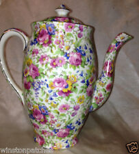 ROYAL WINTON SUMMERTIME PERTH SHAPE COFFEE POT 32 OZ FLORALS CHINTZ ON CREAM