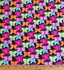 Michael Miller Butterfly Fabric By Yard Fluttery 100% Cotton Dramatic black