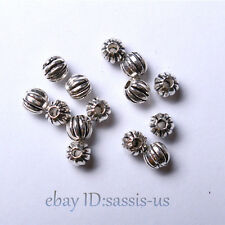 200pcs 4mm Beads Tibet Silver Charms DIY Jewelry pumpkin Bead Round Spacer A7002