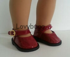 "DEEP RED Patent Mary Janes Shoes for 18"" American Girl Doll Widest Selection"