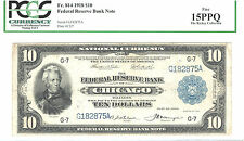 1918 $10 (FRBN)-CHICAGO-30 KNOWN-FR#814-RARE-PCGS 15