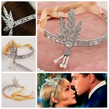 Bridal 1pc Great Gatsby 1920s Vintage Style Headpiece Pearls Charleston Headband