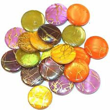 MPX2394 Mixed Gold Drizzle Drawbench 20mm Round Mother of Pearl Shell Bead 100pc