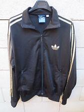 Veste ADIDAS noir or doré Trefoil rétro vintage tracktop jacket L