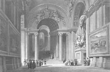 ROME Italy VATICAN CITY INTERIOR HALL POPE, Old Antique 1841 Art Print Engraving