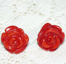 Nice Natural Red Coral Carved Rose Flower 925 Silver Pierced Earrings  AA19*