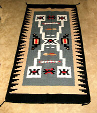 "Hand Woven Wool Throw Rug Southwestern Western 32""x 64"" Tapestry Replica #403"