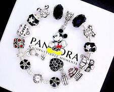 Authentic Pandora Silver Bracelet with Mickey Mouse Love European Charms