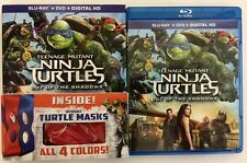TEENAGE MUTANT NINJA TURTLES OUT OF THE SHADOWS BLU RAY DVD + SLIPCOVER & MASKS