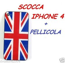 COVER SCOCCA POSTERIORE CASE FLAG BANDIERA INGLESE PER IPHONE 4 + KIT PELLICOLA