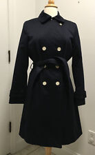 Coach Ladies Navy Trench Coat, Medium Length, Size Med, Excellent Condition