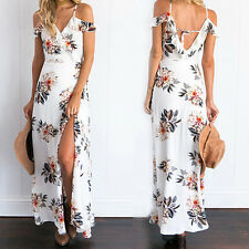 Women Summer Vintage Boho Long Evening Party Beach Dress Floral Sundress New L