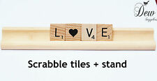 Wooden Scrabble tile word Love 4x letters with scrabble tile rack stand